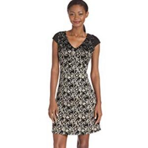 Desigual black tan hearts dress sz L